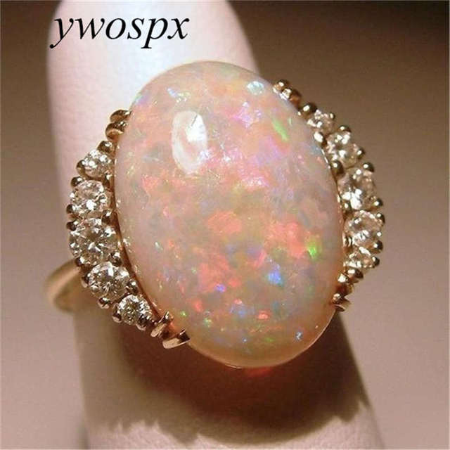 YWOSPX Luxury Rose Gold Color Orange Fire Opal CZ Rings For Women Jewelry Gifts Anel Bijoux Wedding Engagement Opals Zircon Ring