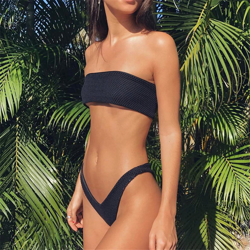 Black High Cut Bandeau Bikini  2