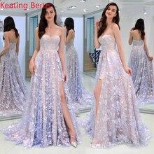 918b34cff232b Keating Berus frauen Lange Kleid Lila Sexy Rohr Top Spitze Transparent  Durchbrochene Split Kleid frauen Kleid