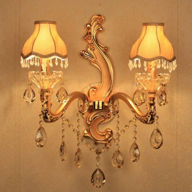 Foyer Double shades LED candle Wall lights Aisle Hallway Sea wave shape gold Crystal Lustre Wall Sconces Mirror Bathroom Light