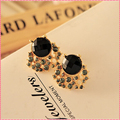 Black Crystal Stud Earrings For Women Shine Rhinestone Fashion Ladies' Earring New Designer Big Stud Earrings Gift  #ER121