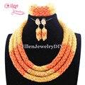 Delicado orange orange coral contas de casamento nigeriano beads africanos conjunto de jóias dubai conjunto de jóias de noiva frete grátis e1041