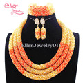 Delicate Orange Nigerian Wedding African Beads Jewelry Set Dubai Orange Coral Beads Bridal Jewelry Set Free Shipping E1041