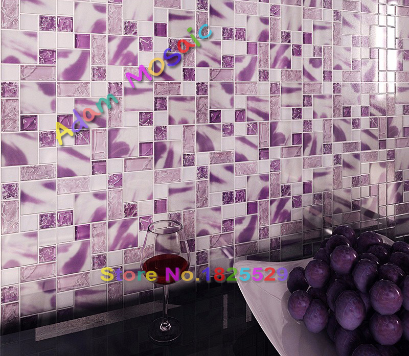 Painted Gl Purple Mosaic Tiles