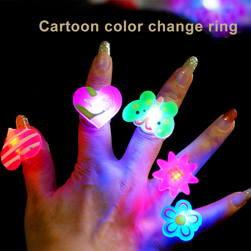 Funny Flash Toys Cartoon Flash Ring,LED Glow Rings Flashing Light For Kids,Children,Adult Flashing Rings Concert Party Supplies