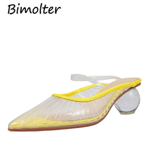 Bimolter Women Strange Heels Dress Pumps Yellow PVC clear Sheepskin Insole Shoes Pointed Toe Fashion Casual Summer FC076