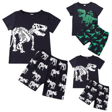 Summer Boys Pajamas Kids cartoon Dinosaur Short-sleeve sleepwear Set 2-7 Years