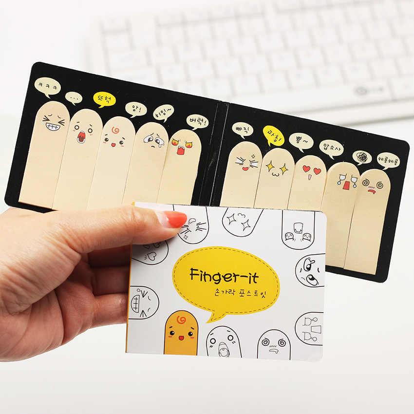 200 páginas/paquete Kawaii Scrapbooking único diez pegatina de dedos Pestaña de marcapáginas banderas libro de notas marcador notas adhesivas