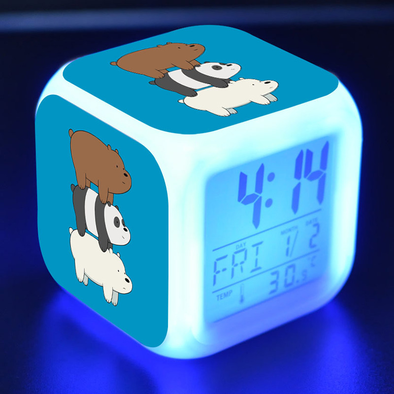 We Bare Bear TV Figure Juguetes LED Colorful Touch Light Alarm Clock Bare Bear Anime Figurine Toys For Children Gift