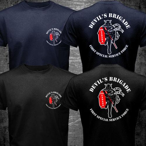 7168784152165 WW2 FSSF Primeira Força Especial de Serviço T shirt homens dois lados EUA  Canadá Black Devil Brigada presente t ocasional camisa tamanho EUA S 3XL em  ...
