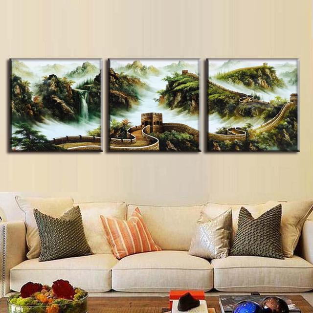 Discount Framed Painting 3 Pcs/set Traditional Chinese Landscape ...
