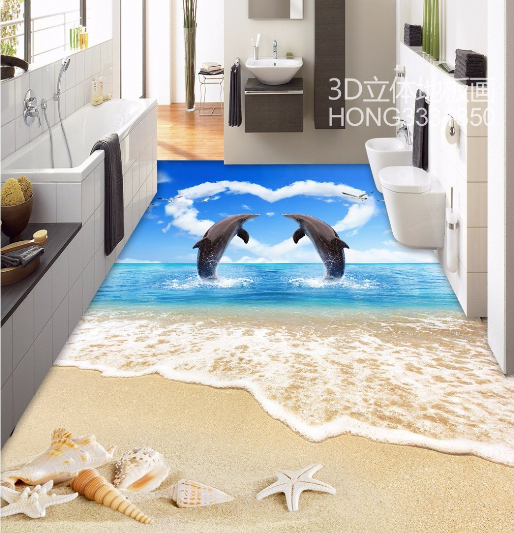 Free Shipping 3D Dolphin Lovers Beach Seas Living Room Bathroom Flooring home decoration flooring bedroom wallpaper mural free shipping marble texture parquet flooring 3d floor home decoration self adhesive mural baby room bedroom wallpaper mural