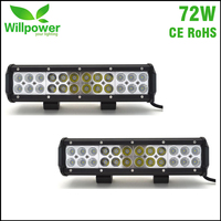 2 PCS high power 4x4 Offroad combo beam off road bar 12 Inch 72W truck Led work Light bar 12 volt