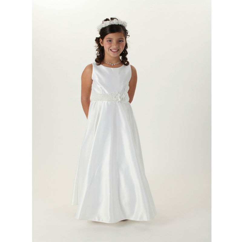 A-Line Mother Daughter Dresse for Girls Glitz Satin Flower Girl Dresses Sleeveless First Communion Dresses for Girls With Sashes цена и фото