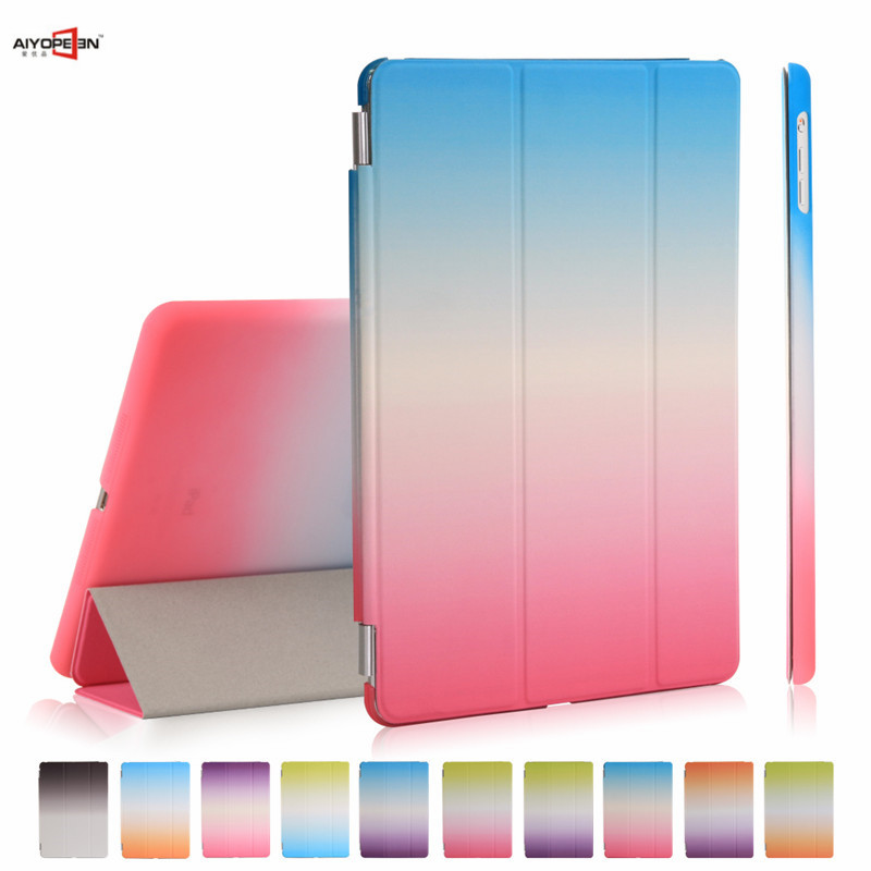 все цены на for iPad Air 1 case 3-fold PU Leather smart wake up sleep rainbow gradient with pc back cover for ipad 5 magnetic flip stand онлайн