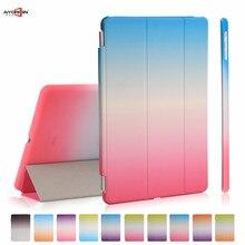 Para el ipad de Aire 1 caso 3-fold Pu inteligente sleep despertador gradiente de arco iris con pc de la contraportada para el ipad 5 del soporte del tirón magnético
