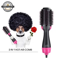 2 in 1 Multifunctional Hair Dryer Volumizer Rotating Hot Hair Brush Curler Roller Rotate Styler Comb Styling Curling Flat iron