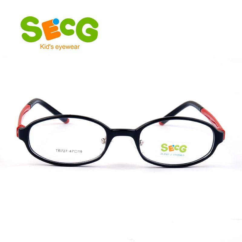 SECG Round Oval Cute Students Kids Glasses Frame Tr90 Solid Flexible Plaid Children  Glasses Nose Pads Prescription Eyeglasses
