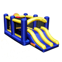 Hot sale Inflatable Jumping Bouncer Castle racing slide with basketball Hoop