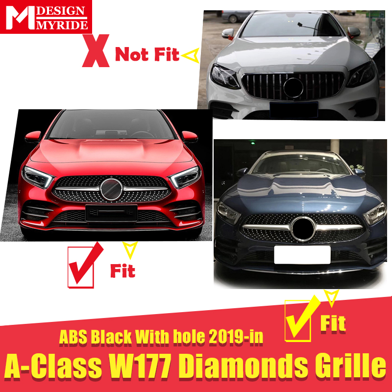 W177 A class A45AMG grille grill Diamonds style Sport With Camera For MercedesMB grills ABS black Without Sign From june 2018 On in Racing Grills from Automobiles Motorcycles