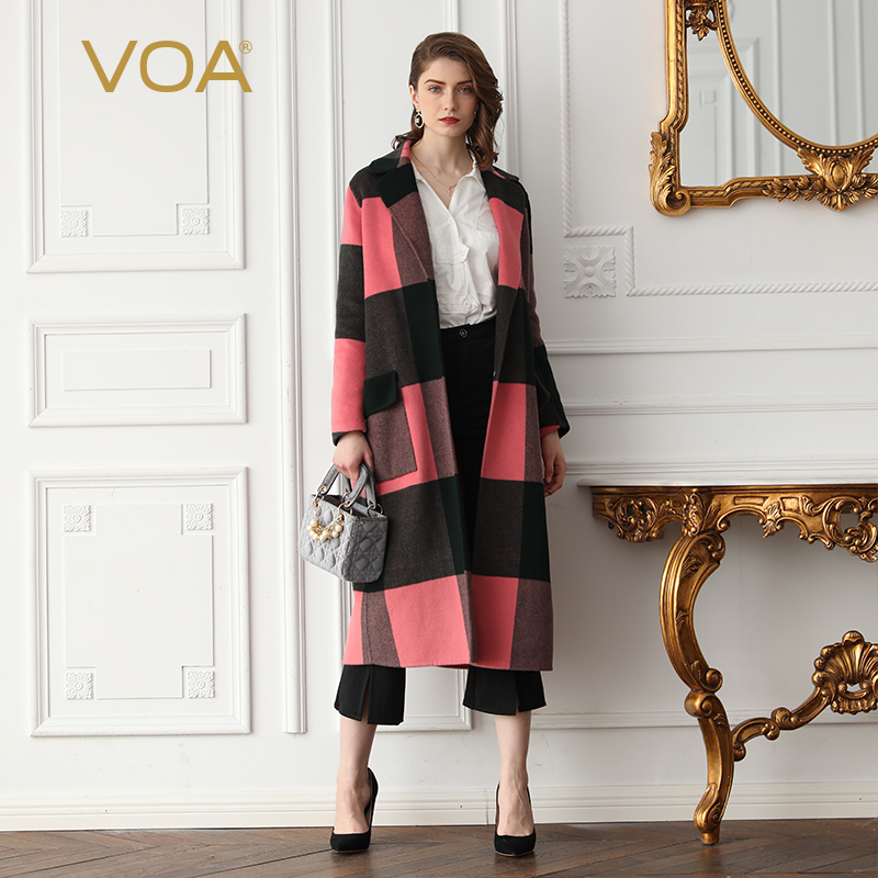 VOA Wool Long Cashmere Pink Plaid Coat SA7738