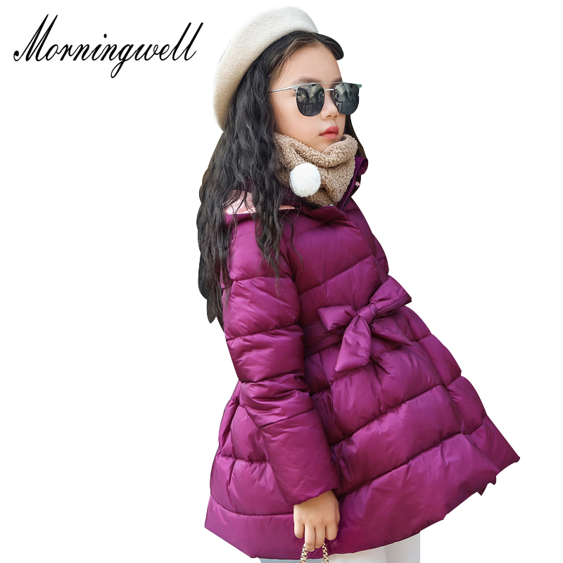 Morningwell Jackets For Girls Winter Warm Princess Down Jackets With Waist Belt Hooded Fashion Children Outerwear Kids Christmas