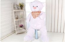 new white plush teddy bear toy short legs high quality bear doll with flower scraf gift about 100cm