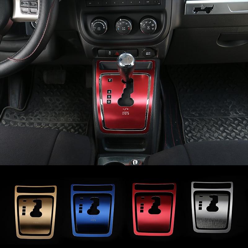 MOPAI Aluminum Car Interior Gear Shift Panel Decoration Cover Trim Stickers For Jeep Compass 2010-2013 / Patriot 2011-2015 silver black car key bag holder cover frame for jeep wrangler 2008 2017 for jeep compass 2008 2015 for jeep patriot 2011 2015