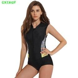 Push up rash guard zipado frente uma peça surf mergulho roupa de banho preto + verde cinza retalhos beachwear feminino maiô sem mangas