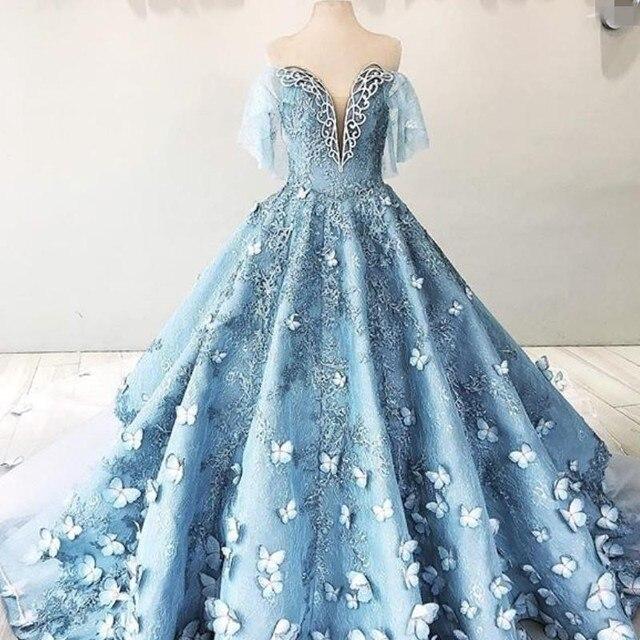 Роскошные бальные платья с коротким рукавом и объемной бабочкой, 2018
