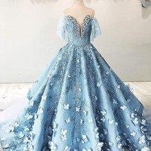 高級 3D 蝶のウェディングドレス 2018 ビーズクリスタルレースブライダルガウン Dudai サウジアラビアアラビアパフィーショートスリーブボールガウン