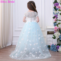 Lace Tulle Wedding Flower Girl Dresses Butterfly Tail Princess Dress Formal Girls Party Pageant Ball Gowns
