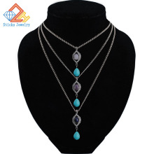 hot deal buy new triple accessories / turquoise gem necklaces for woman  gold/white k color  pendants necklace