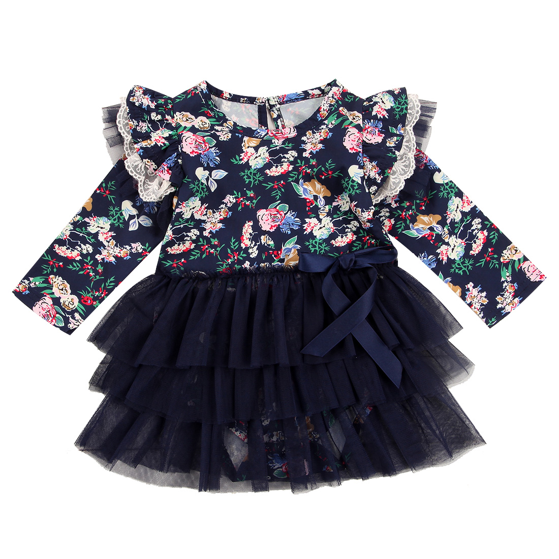 Fashion Newborn Baby Girls Clothes Floral Tutu Dress Romper Outfit Infant Baby Long Sleeve Dresses For Girls