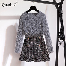 QoerliN Safety Skirts Sets Women Beading Sweet Sweater Fashion Spring New Two Piece Suits Ladies Casual Plus Size Tweed