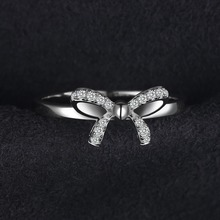 Bow Anniversary Wedding Ring For Women Pure 925 Sterling Silver Fashion Jewelry Best Girl's Gift