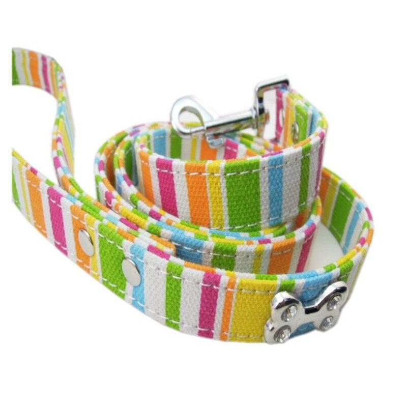 (1 piece/lot ) S#1.5*120cm M#2.0*120cm L#2.5*120cm colorful canvas cloth material rhinestone bone dog leashes pet leads