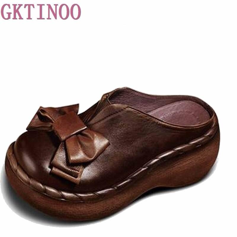 Echtes Leder Frauen Sandalen Handgemachte Bowtie Plattform Keile Rindsleder High Heel Sommer Schuhe Runde Zehen Comfotable Frauen Rutschen-in Hohe Absätze aus Schuhe bei  Gruppe 2