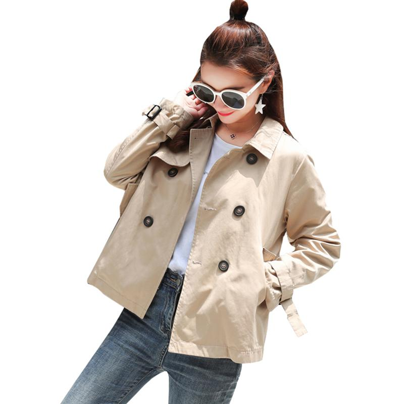 New Women Spring Autumn   Trench   Coat Coats Loose Casual Turn-down Collar Double Breasted Short Outerwear Female