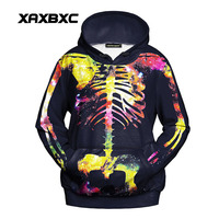 New 1057 Harajuku Girl Autumn Coat Christmas Colorful Bone Skull Galaxy Printed Hooded Sweatshirt Fitness Outside