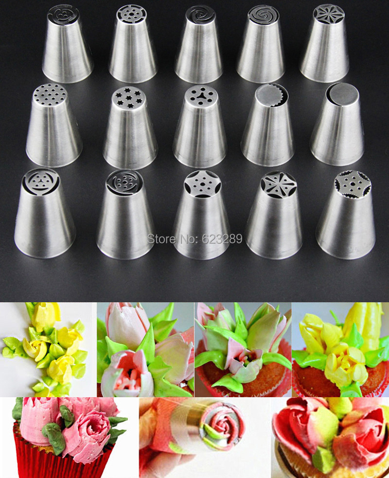 Wholesale 10 Sets 15 Pcs set Stainless Steel Russian Tulip Icing Piping Nozzles Fondant Cake Decoration