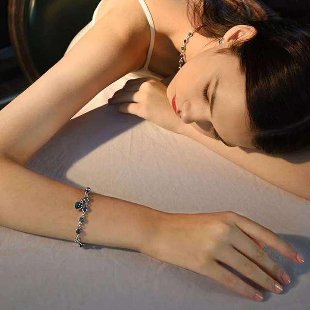925 Sterling Argento di Colore Zaffiro Braccialetto Per Le Donne Romantico Blu dei monili pulseira feminina kehribar bizuteria Braccialetto 2