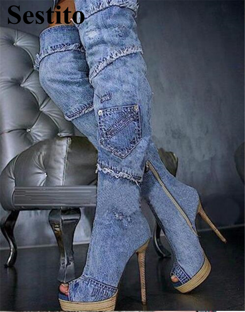 European Fashion Denim Woman Long Boots Super High Heel Platform Over-the-Knee Boots Women Peep Toe Thin Heels Zip Fringe Shoes 2017 spring newest women boots super high thin heels over the knee peep toe designer platform boots cross tied women boots