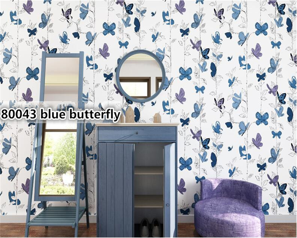 beibehang Nordic wallpaper nonwovens pure paper butterfly flying papel de parede wall paper living room sofa bedroom background beibehang mediterranean flower pastoral american personality wall paper bedroom living room background papel de parede wallpaper