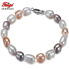 Feige New special offer Baroque 7-8MM Multicolor Natural Freshwater Pearl Strand Bracelet for Womens Jewelry Pulseras