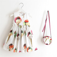 2 pcs Cream Girls Dress Age 10 Princess Costumes Pattern Kids Dresses For Girls Clothes Summer Baby Girls Party Dress With Bag