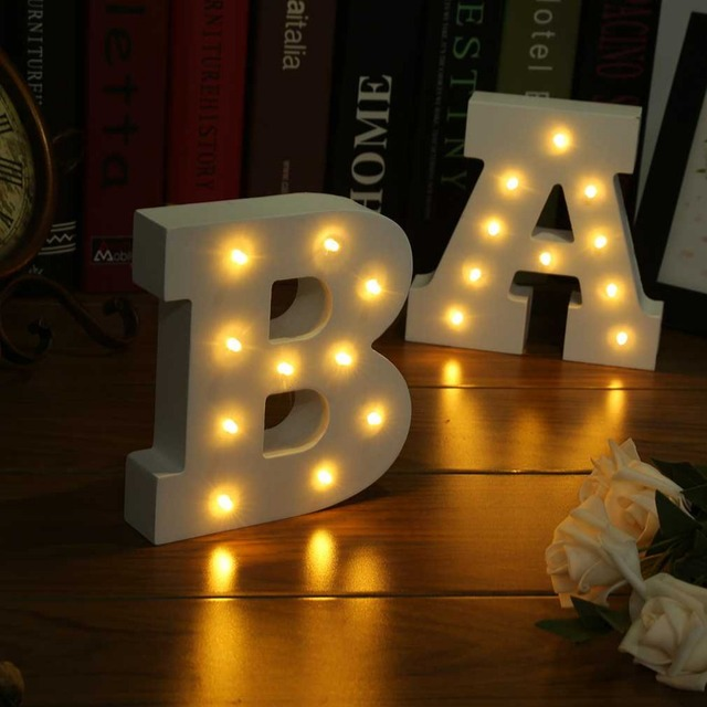 Wooden 26 Letters LED Night Light Festival Lights Party Bedroom Lamp Wall Hanging Photography Ornaments