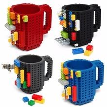 350ml Creative Coffee Mug Travel Cup Kids Adult Cutlery Mug Drink Mixing Building Blocks Cup Dinnerware Set for Child