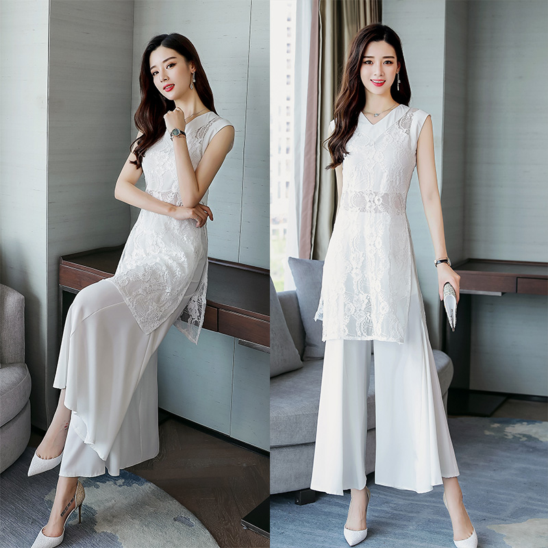 2019 Women 2 Two Piece Set Summer long sexy lace blouse Tops and wide leg pants trousers elegant Suit-in Women's Sets from Women's Clothing    1