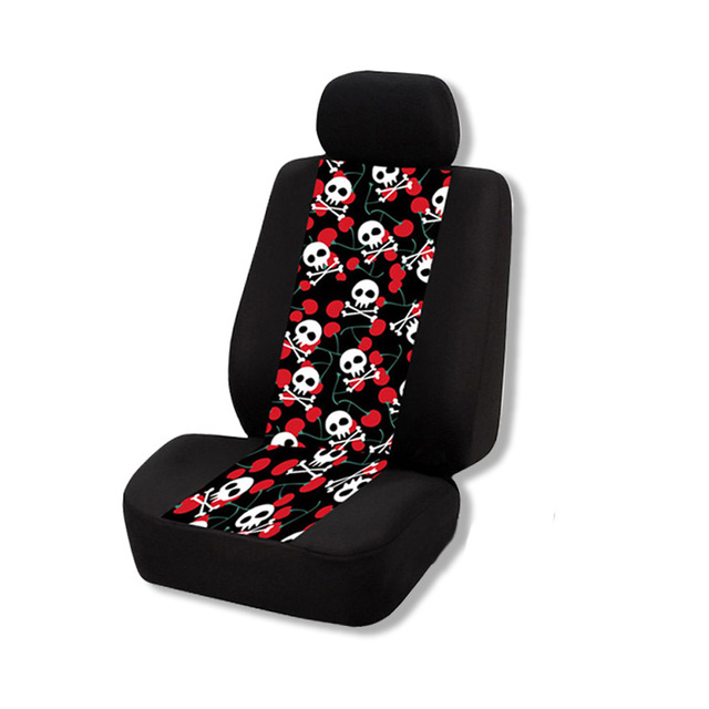 1 Pair Car Seat Covers Skull Printing Pattern Auto Cover Protector Decor Fashion For BMW